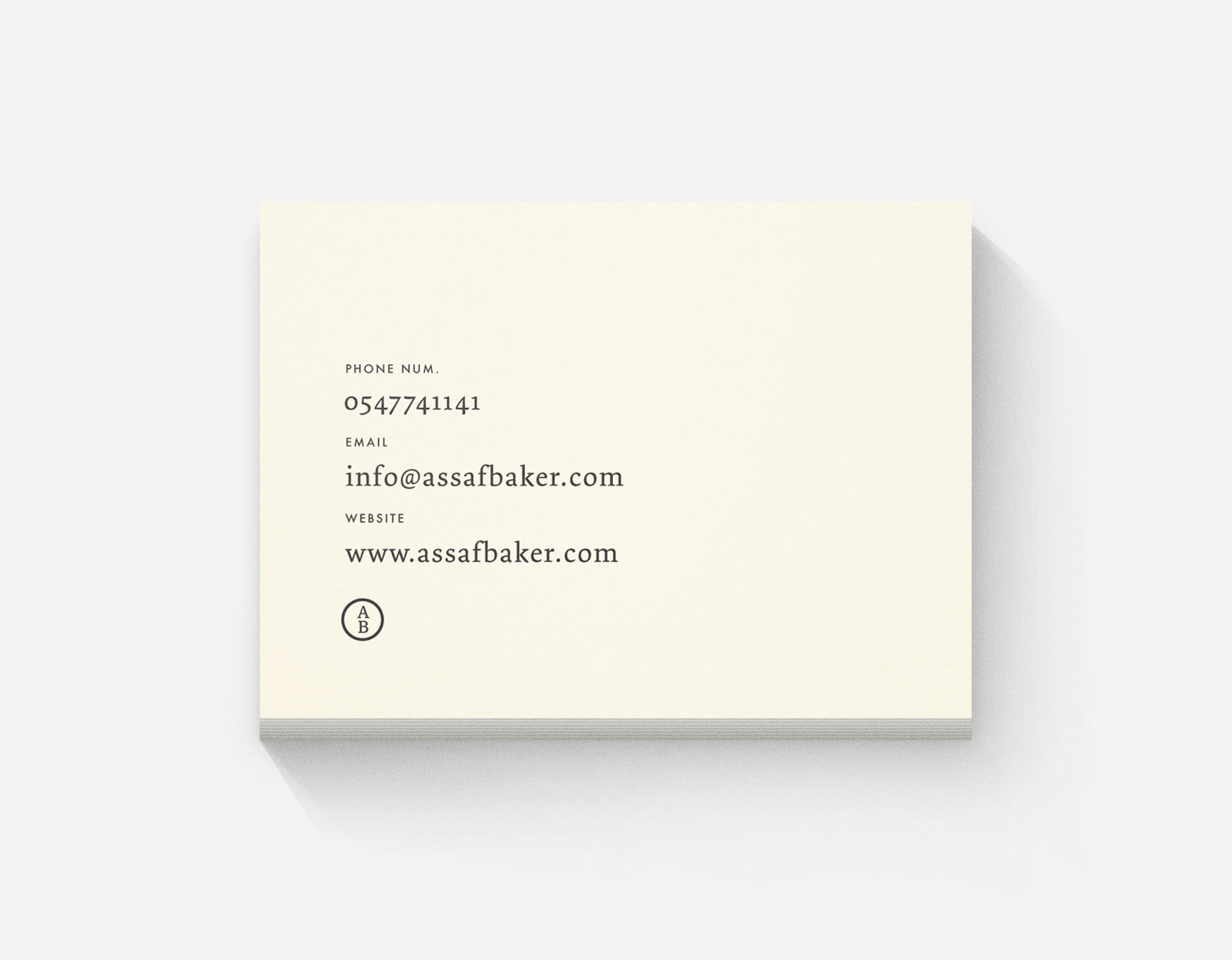 Assaf Baker Business card text side